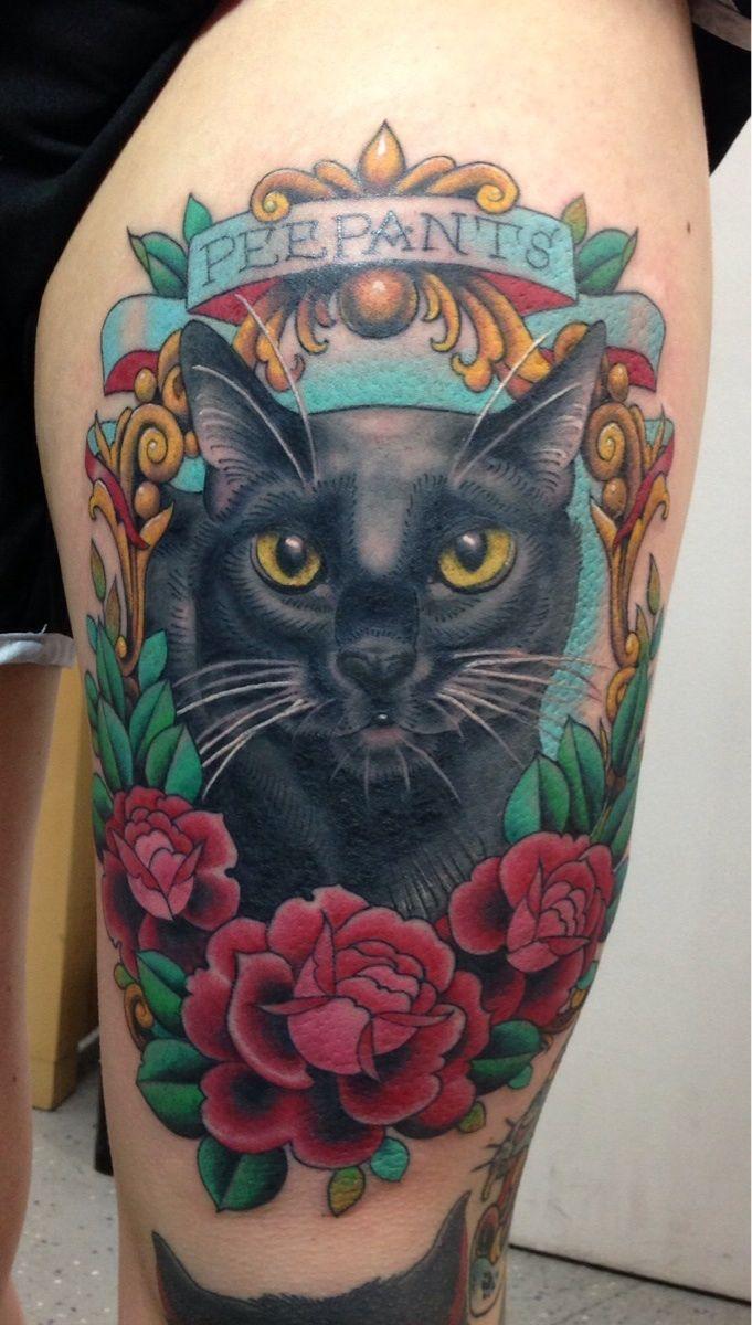 Fresh tattoo of my cat, Peepants. Done by Megon Shore @ Fist Full of Metal Tattoo in Seattle, WA