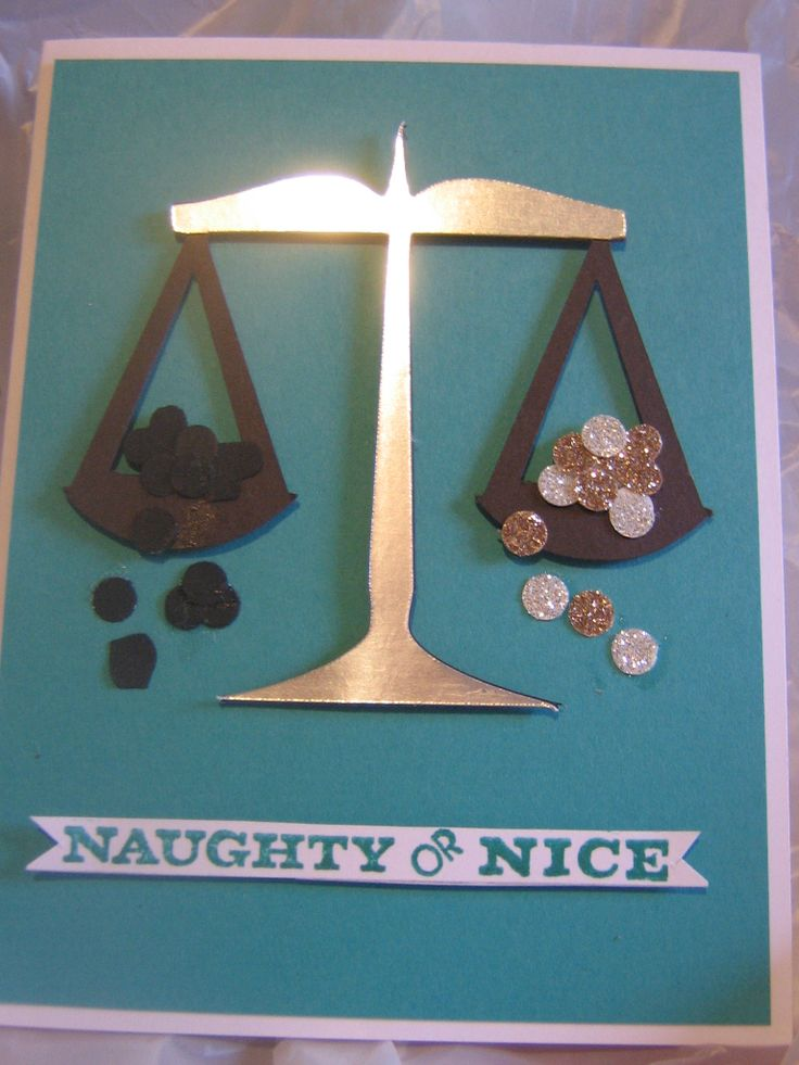 My tongue in cheek card...silver and gold for nice and coal for naughty...which side will prevail...lol  Bermuda bay and early espresso card stock, silver and gold glimmer paper, and silver foil paper, Bermuda bay ink all Stampin up.  scale from a svg