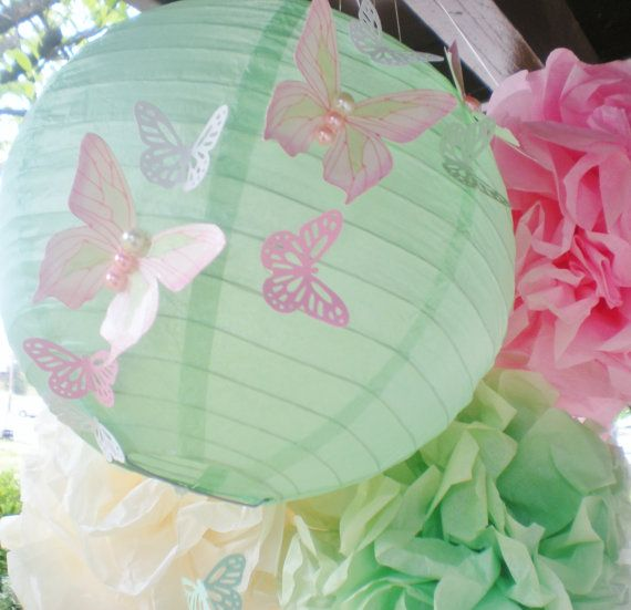 Mint green light pink nursery, butterfly lantern and pom pom set, cascading butterflies, CUSTOM COLORS available