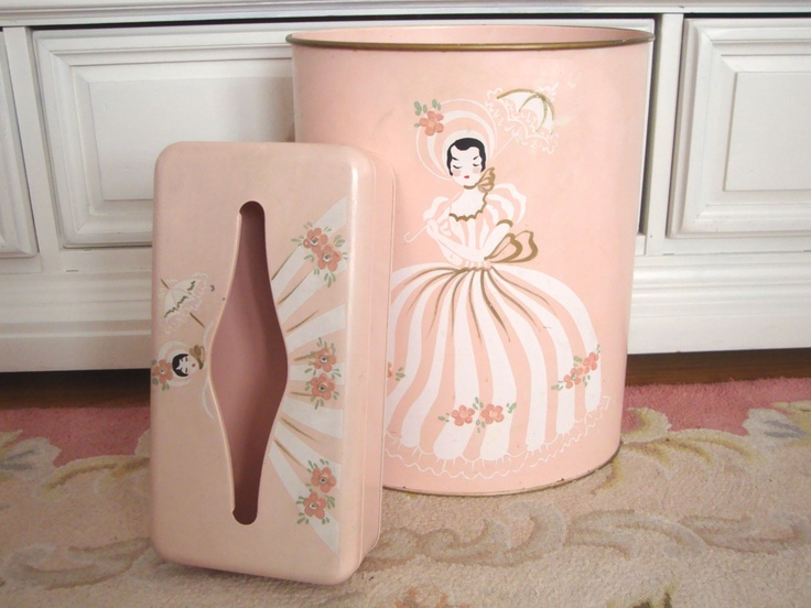 Vintage ransburg wastebasket tissue box holder set pink jeweled tole shabby cottage - Shabby chic wastebasket ...