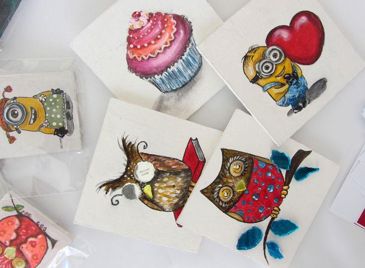 Magneti dipinti a mano su legno