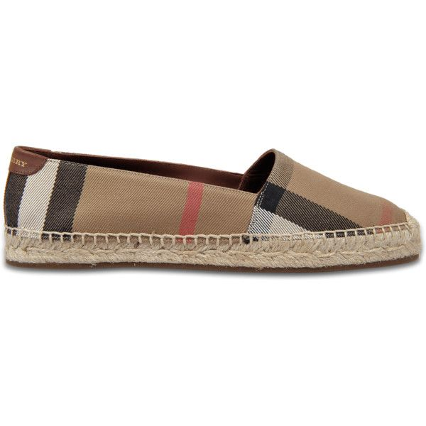 Burberry Hodgeson check espadrilles ($314) ❤ liked on Polyvore featuring shoes, sandals, brown, brown shoes, brown sandals, brown espadrilles, burberry sandals and checkered shoes