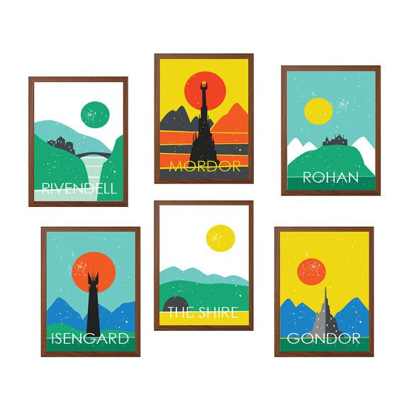 LOTR | Middle Earth Travel Poster Poster : Modern Illustration Retro Art Wall Decor Print