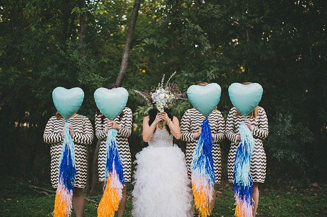 bridesmaids in chevron sequins with heart balloons - love!!