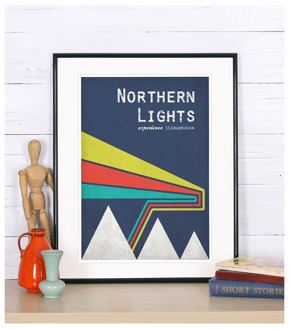 Retro print, A2 poster, northern lights, experience Scandinavia, Scandinavian landscape, vintage travel poster, print, retro wall decor,