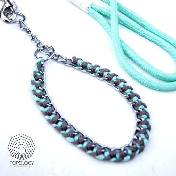 Dog Choker collar. Metal chain braided with macrame colorful paracords made in Greece.  Dog collar matching dog leash to give a unique fabulous look!  https://www.etsy.com/listing/193784601/  --------------------------------------------  Dog Jewelry // metal chain & paracord choker collar  ♦ Size: M (45cm <15kg), L (65cm<25kg) ♦ Color: Charcoal & Mint, Charcoal & Peach, Custom orders ♦ Hardware: Strong solid Silver zinc metal chain guaranteed by supplier. ♦ Please note that some color…