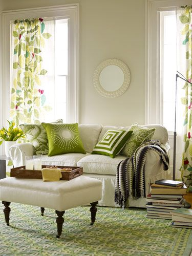 Green accents in living room- IKEA curtains!