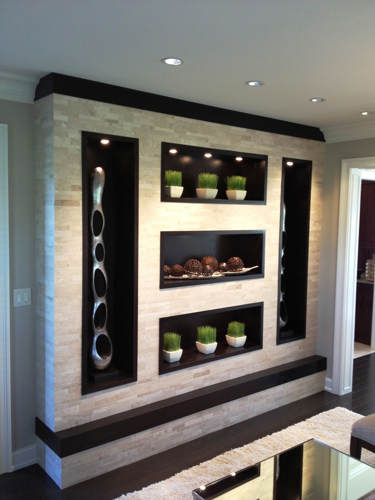 We Created This Wall Unit By Framing A Blank Corner Of Transitional Living Room And Covered It With Honed Stacked Marble The Ebony Oak Recessed Bo