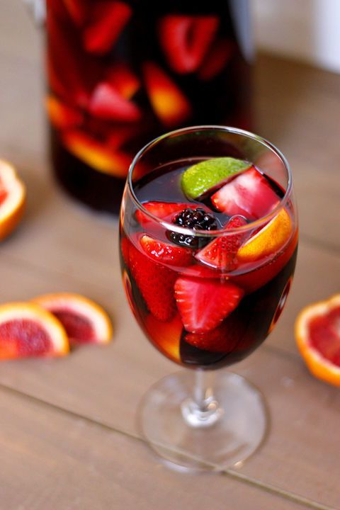 This blood orange sangria is the perfect drink for a fall dinner party. Mix fruity red wine with sparkling apple cider to get this bold flavor.