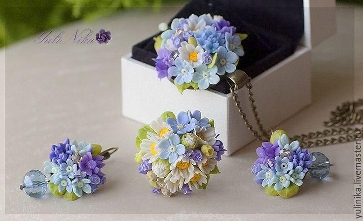 Купить Комплект с полевыми цветами! - голубой, сиреневый, лазурный, ромашки, ландыши, черника, незабудки, гортензия