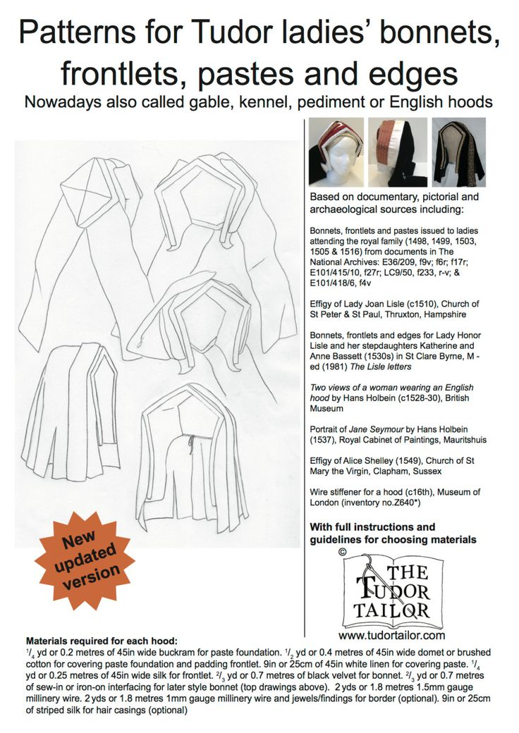 Shop | The Tudor Tailor | Patterns for Tudor Lady's Bonnets, Frontlets, Pastes and Edges - Nowadays Also Called Gable, Kennel, Pediment or English Hoods
