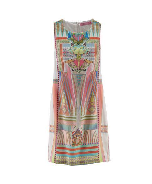 Kleid, Print, tailliert, reine Baumwolle Satin Vorderansicht