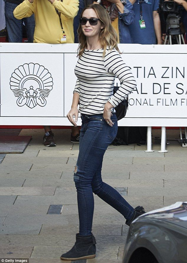 Nautical: Emily Blunt looked effortlessly stylish as she arrived at the San Sebastian film...