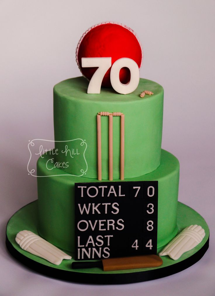 Cricket Cake for a 70th Birthday. The scoreboard shows his age and date of birth.