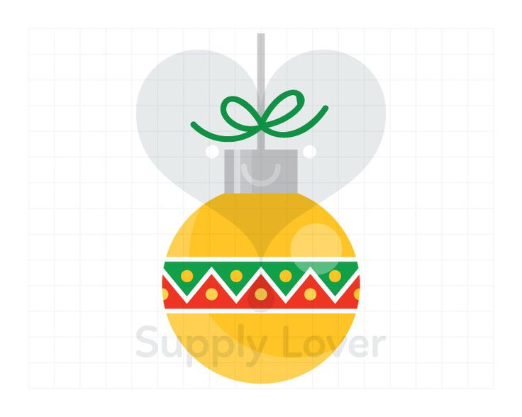 YELLOW CHRISTMAS BALL Clip-Art Commercial Use, Christmas, Decoration, Bauble, Green, Red, Bow, Ornament, Ball, Round, Zig-Zag  - A0019