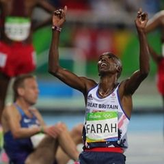Mo Farah of Great Britain wins the Men's Olympic 10000m Final