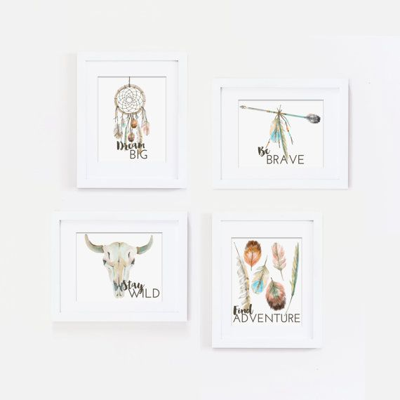 Dream Big Wall Art Tribal Nursery Art Print by LifeWithPeanut