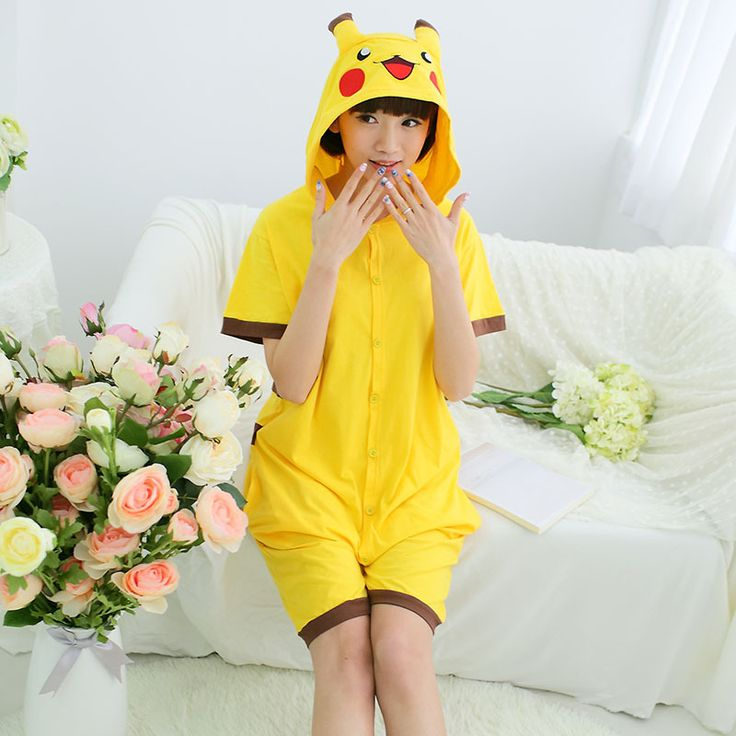2016 Animal Cartoon Pokemon Pajamas Sets Cute Short sleeved Cotton Sleepwear Siamese Summer Pajamas Couple Sleeping Clothes -- You can find out more details at the link of the image.