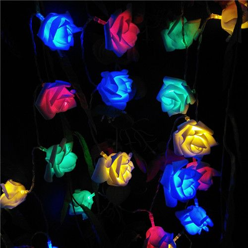 2.2M RGB Red/Green/Blue Changing Rose Flower Fairy Lights String Lights Battery Operated  (20 Roses Leds)