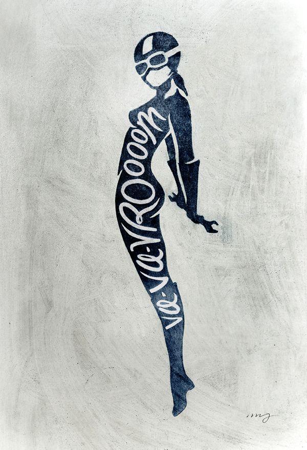 Motorcycle Pin Ups by Matylda Mcilvenny, via Behance #illustration #typography