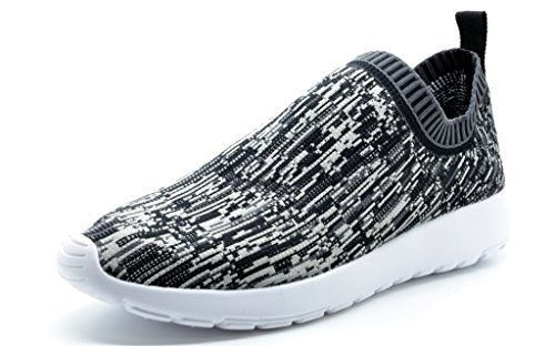 DREAM PAIRS 160486-W New Fashion Women's Lady Gowalk Slip-on Light Weight Recreational Comfort Running Shoes Sneakers MIX BLK-WHITE SIZE 9