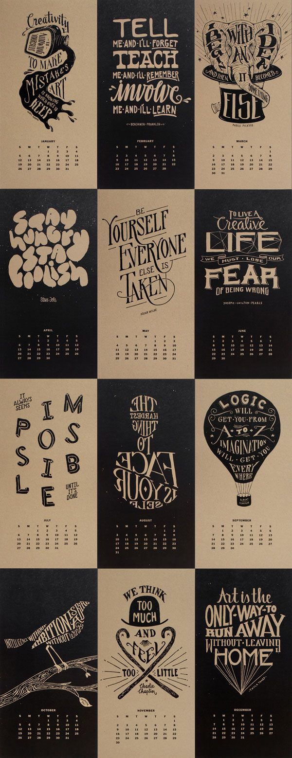 Monthly Inspirational Quotes Calendar