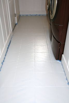 How to paint tiles paint tiles and laundry room floors on - How to paint bathroom tile floor ...