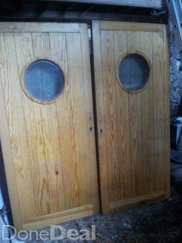 2 heavy solid pine doors