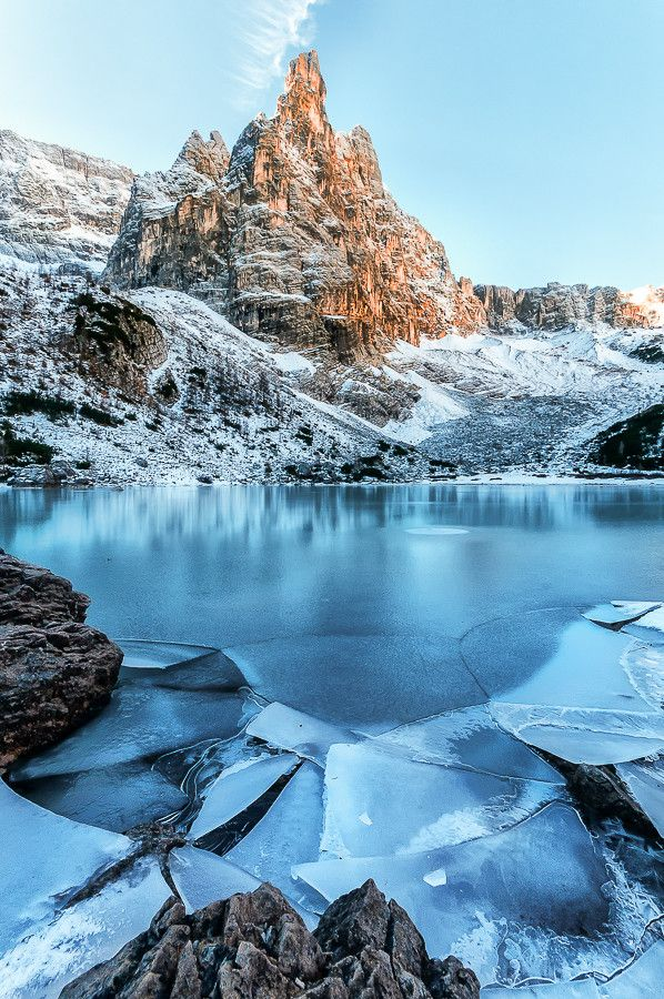 ~~Frozen Dolomiti's lake ~ ice cracks during the first snow, Dolomites, northern Italy by Antonio RIVA BARBARAN~~