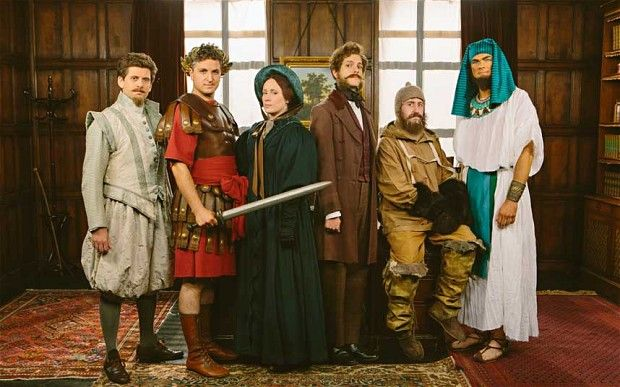 The Horrible Histories television show team. From left: Larry Rickard, Ben Willbond, Martha Howe-Douglas, Mathew Baynton, Jim Howick and Simon Farnaby.