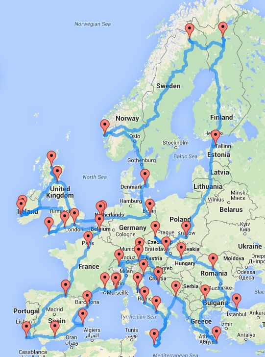 Road trip map for Europe