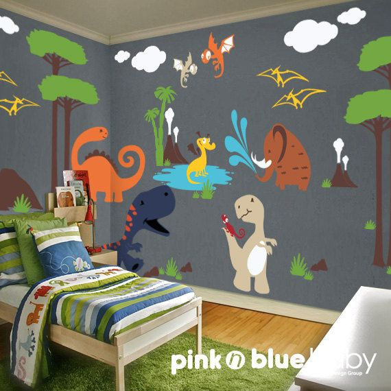Wall decal dinosaur nursery kids wall decal nursery wall d cor grey walls removable wall - Boys room dinosaur decor ideas ...