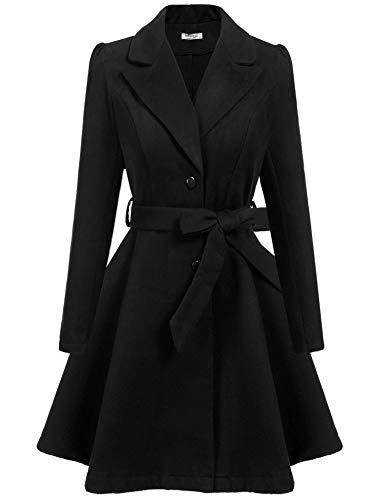 7bd288a76b378 Amazon.com  ELESOL Women Swing Wool Trench Pea Coat Lapel Wrap Winter Long  Overcoat w Belt  Clothing