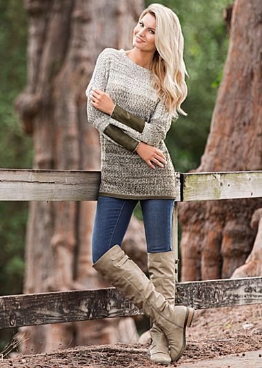 Faux leather cuff sweater,skinny demin,buckle knee high boot