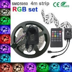 [ 23% OFF ] 5050 Rgb Led Strip Non-Waterproof 4M Strip Light Smd5050 Led Strip Light Fita Led String + Music Ir Remote + Dc 12V 2A Power Kit