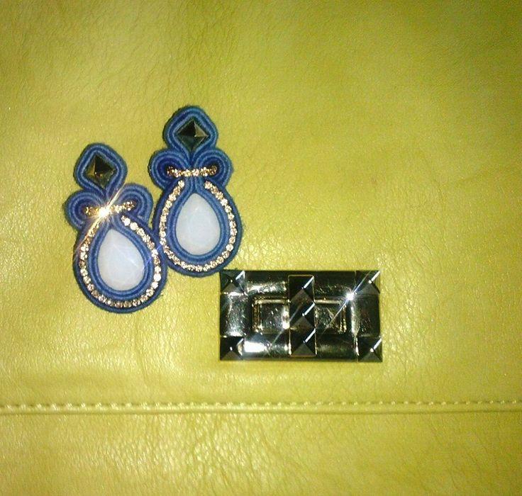 orecchini soutache jeans e cristalli