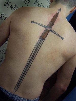Sword Spine Tattoos For Men