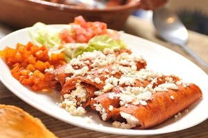 Don't be fooled, anything different from this is not the real thing... Enchiladas norteñas! How they are made in my city: Monterrey, Mexico. Totally worth the time =P