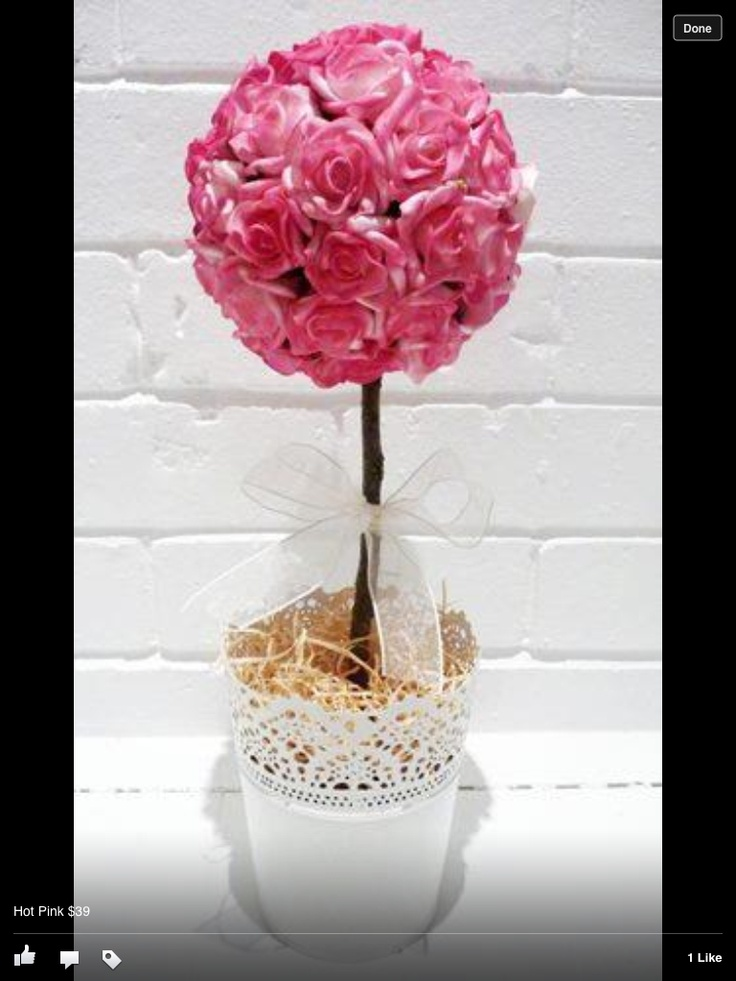 Hot pink rose topiary tree flowers pinterest