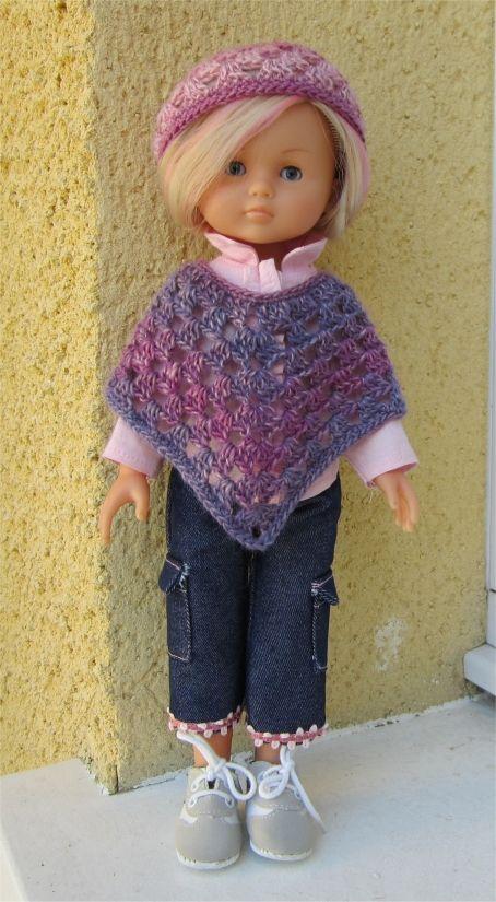 Passion Poupées: Poncho et bonnet au crochet - http://passion-poupees.blogspot.fr/2011/10/poncho-et-bonnet-au-crochet_24.html