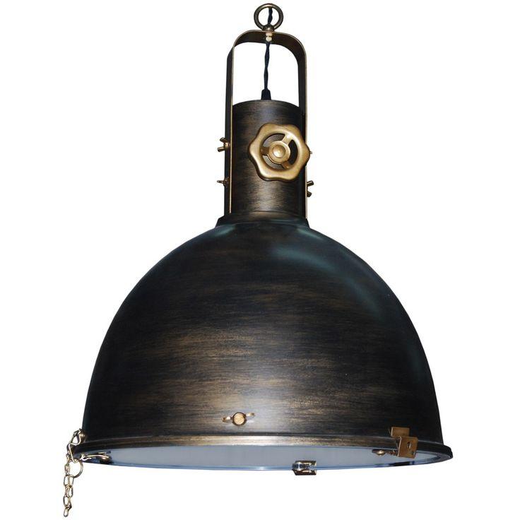 L mpara de techo colgante campana industrial vintage oro - Iluminacion estilo industrial ...