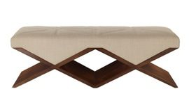 Facette Bench  Double  Contemporary, Transitional, Upholstery  Fabric, Lacquer, Wood, Bench by Natasha Baradaran