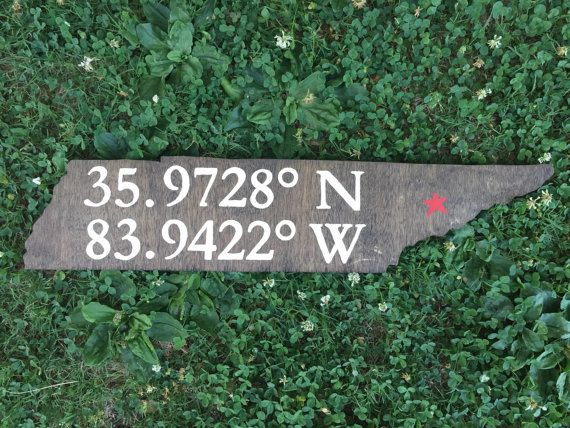 Knoxville Tennessee coordinates sign by TopKnoxTrade on Etsy