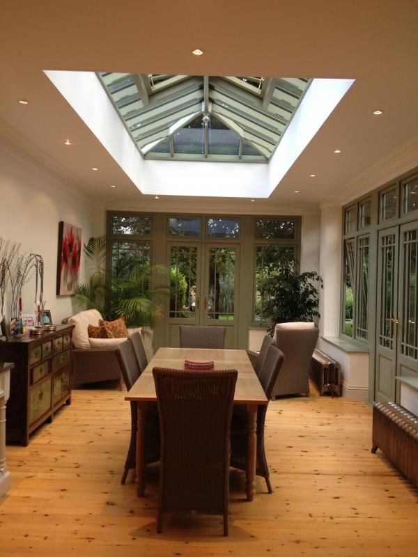 Half conservatory / half build. Good compromise for dining area.