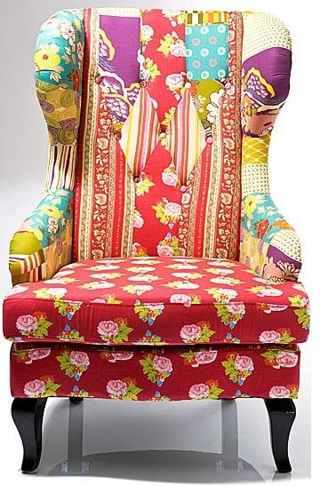 Patchwork winged chair
