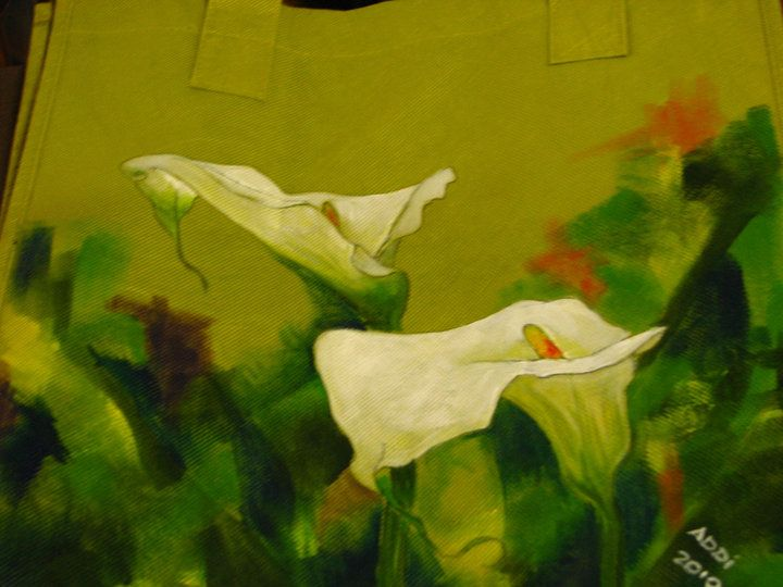 Arum Lilies - acrylic painted on a fabric shopping bag