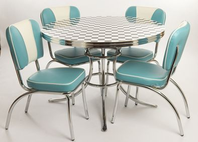 50's Kitchen with turquoise chairs that have a white stripe. Table is delicious too.