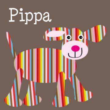 Geboortekaartje hondje Pippa. Doggy baby card