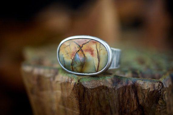 Red creek jasper silver ring by arkeostudio on Etsy