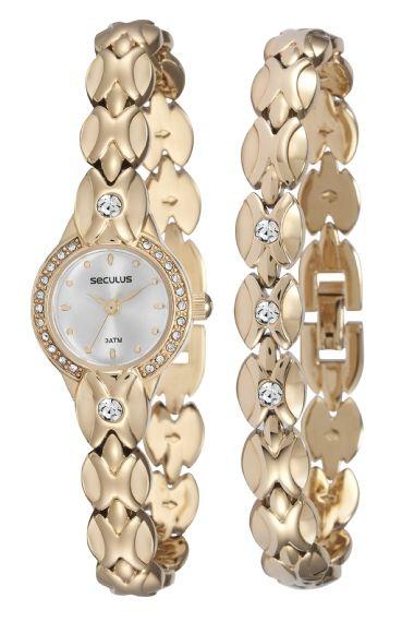 20455LPSKDB1K1 Relógio Feminino Dourado Seculus Analógico | Guest Club